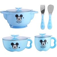 5pcs/set Disney Children Tableware 3pcs/set Mickey Mouse Plate Kids Dishes Bowl Melamine Feeding Rice Dinnerware Cup Spoon