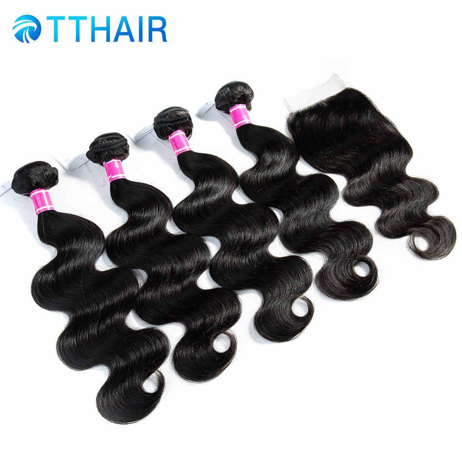 TTHAIR Малайзии пучки волос плетение с закрытием средней/три части тела волна 100% натуральные волосы Связки с закрытием не Remy