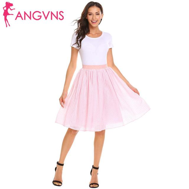 ANGVNS Elastic High Waist Pleated Mesh Casual Women Knee Length Skirts with Lining