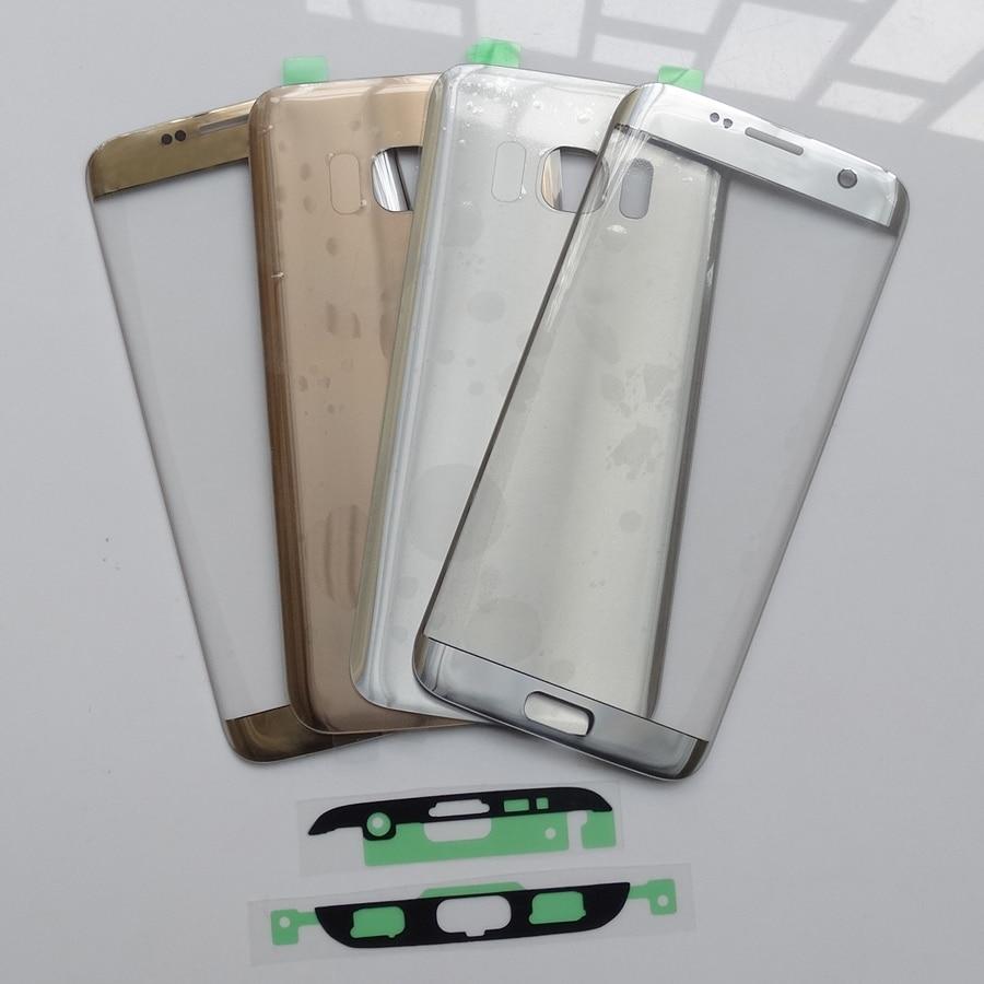 Painel de toque frontal da lente Exterior para o Samsung Galaxy S7 Borda G935 + Vidro Habitação Tampa traseira Porta Da Bateria Voltar Para S7edge/rosa de ouro
