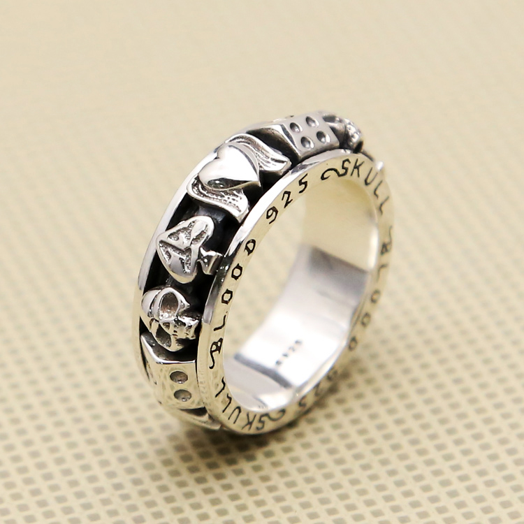 Solid Silver 925 Rotating Spinner Ring Men Gamble Skull Lucky Band Gothic Punk 925 Sterling Silver Jewelry Men Thick Thai Silver