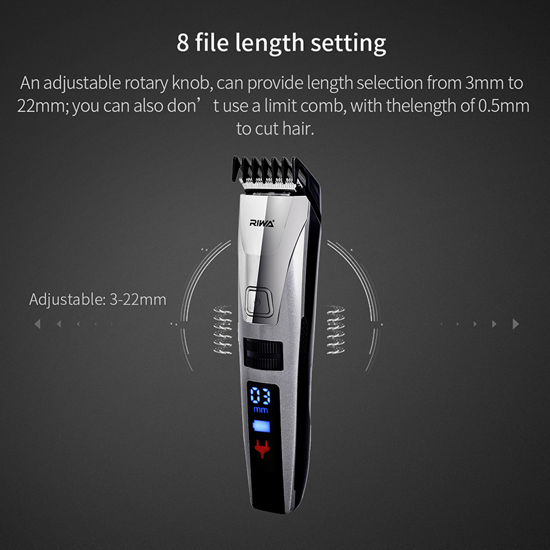 RIWA K3 IPX5 impermeable de barba de pelo eléctrica Clipper máquina de afeitar  pantalla LCD de pelo cortadora de cabello de carga rápida en Tijeras para  el ... bf6e2ca897e4