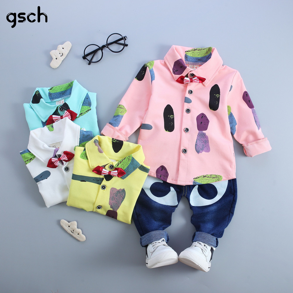 все цены на  Kids Clothes Pink White Bow Boys Clothes Sets 2pcs(Shirt + Trousers) Toddler Children Clothing Set Baby Girls Clothes Bebes  онлайн