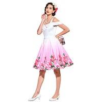 2017 Summer Elegant Women Retro Dress 1950s Style Vintage Dress Spring White Print Floral Slash