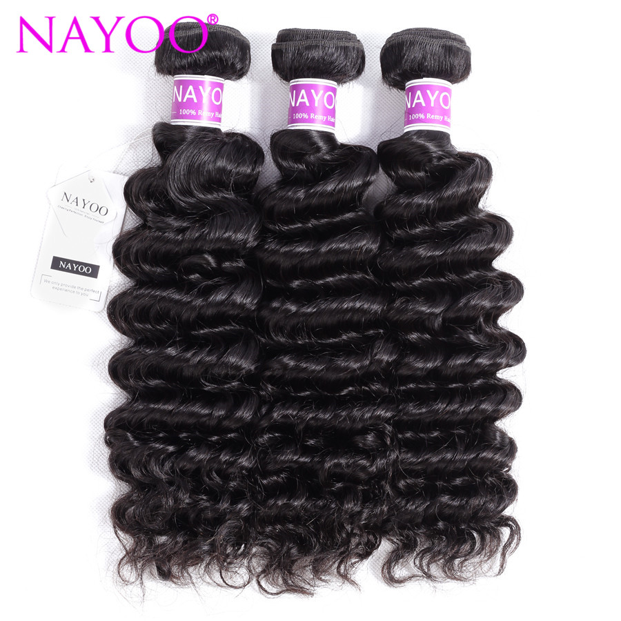 NAYOO Hair Deep Wave Peruvian Remy Hair Weave Bundles 8-26Inch Human Hair Extensions Natural Color 100% Remy Hair