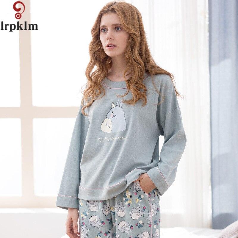a079e33907 Autumn Women Pajamas Set Cotton Soft Long Sleeves Sleepwear Nightwear  Lounge Home Clothing Pyjamas For Women