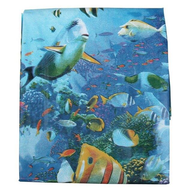 EVA Blue Deep Ocean Sea Life Dolphin Fish Waterproof Shower Curtain ...