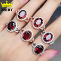 Natural garnet ring real 925 sterling silver women gem stone jewelry