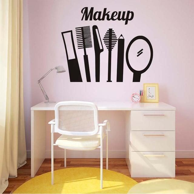 een set make up tool vinyl muurstickers home decor meisjes slaapkamer muurdecoratie schoonheidssalon winkel zelfklevende behang