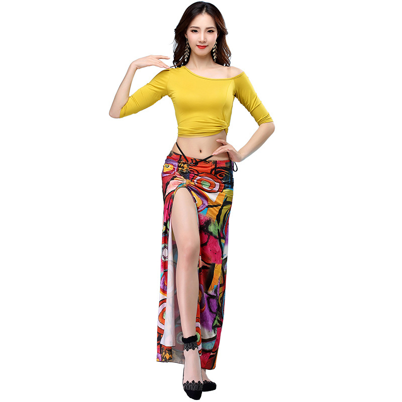 New Women Dance Clothing Class Wear Ice Silk Fabric Stretchy Off-shoulder Sleeves Classic Belly Dance Skirt Costume Set
