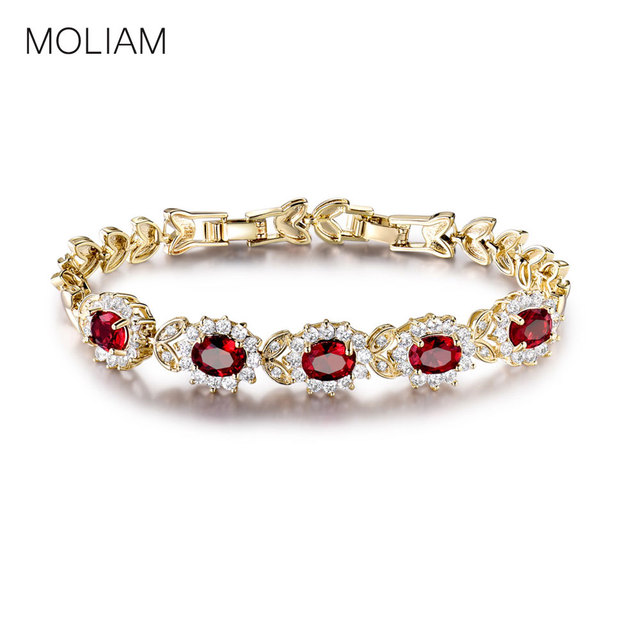 Moliam Female Jewelry Bracelets For Women Gold Color Bangle Red Crystal Cubic Zirconia Hot Bracelet