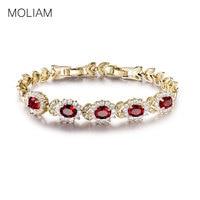 Promotional Female Jewelry Bracelets 18k Gold Plated Garnet Bangle Red Crystal Cubic Zirconia Hot Bracelet Free