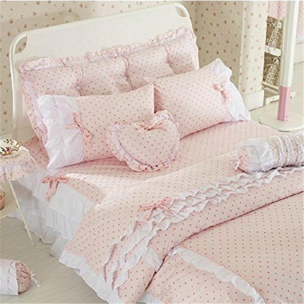 Fadfay Cute Pink Polka Dot Bedding Sets Rustic Girls Duvet Cover Set