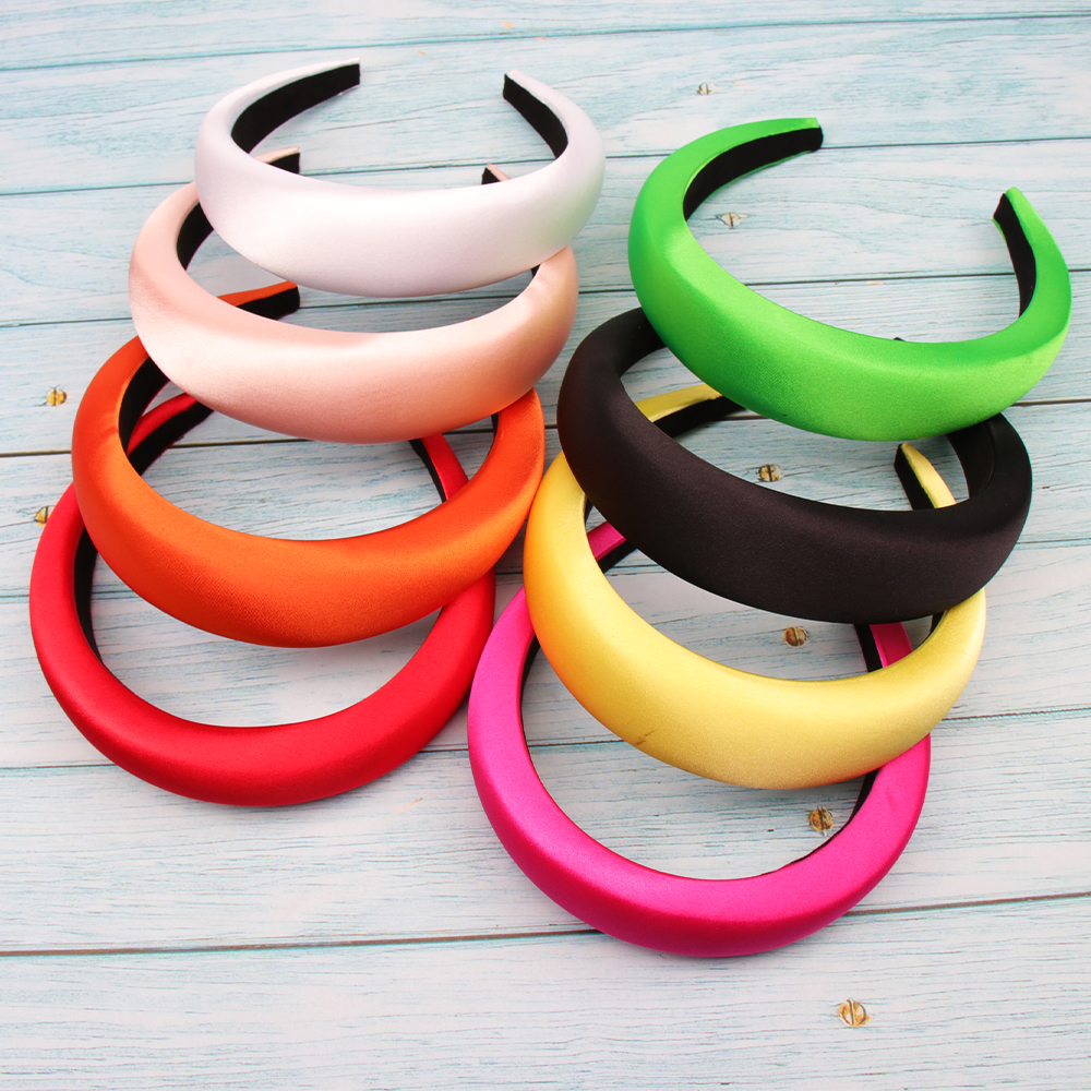 Xugar Hair Accessories Satin Headband For Women Solid Color Plastic Hair Hoop Girls Sponge Non-slip Padded Hairbands Hair Band