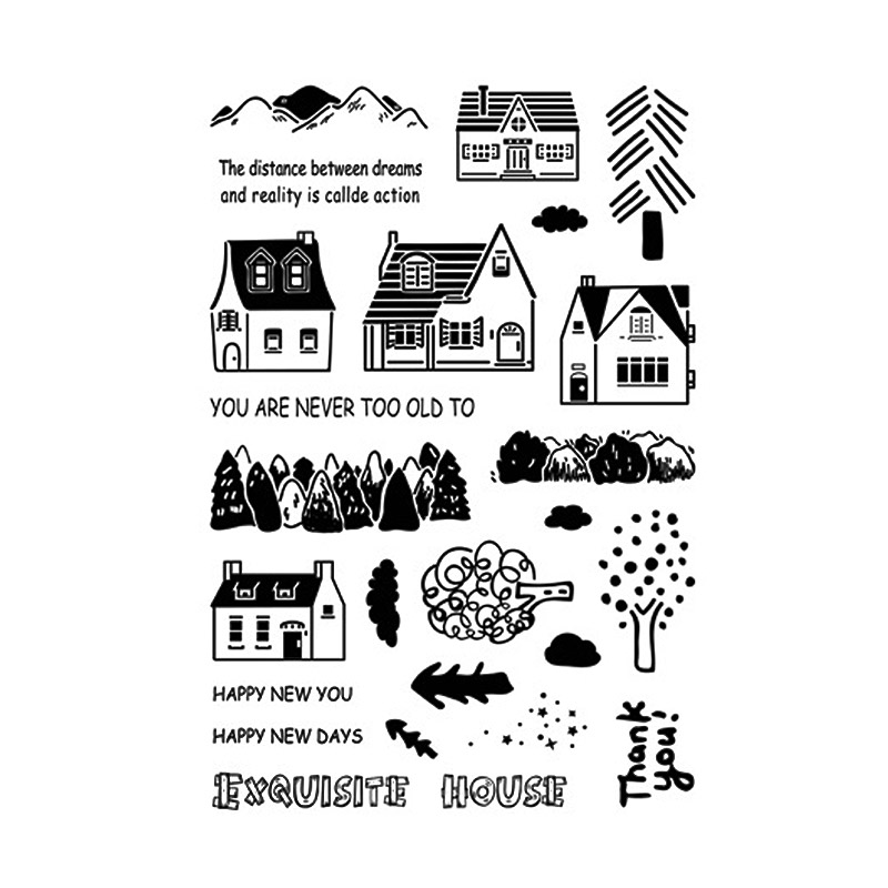 Exquisite House Clear Stamps for Scrapbooking DIY Silicone Seals Photo Album Embossing Folder Paper Maker Template Decor Crafts