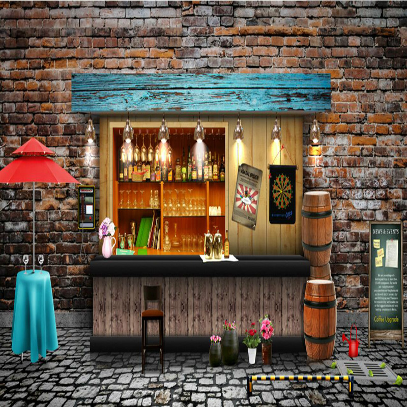 Nostalgic Retro Brick Wall 3D Wallpaper for Bar Coffee Shop Wall Paper TV Background Mural Wallpapers Home Improvement Decorate