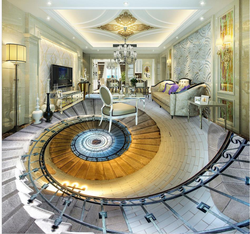 Wallpaper For Bathroom Waterproof 3D Spiral Staircase Hall Floor Bathroom  Pvc Wallpaper Home Decoration  In Wallpapers From Home Improvement On ...