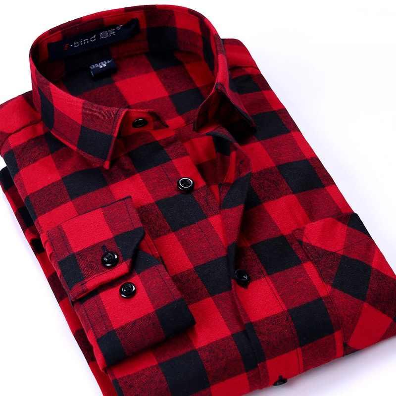 男性格子縞のシャツ 2019 新秋冬フランネルカジュアルシャツ男性シャツ長袖シュミーズオム綿男性チェックシャツ
