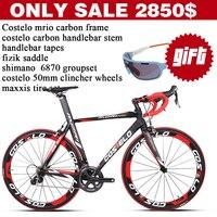 COSTELO Mrio Taiwan Full Carbon Fiber Road Bike 6870 Groups Carbon Bicycle Wheels Bar Saddle DIY
