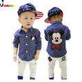 2016 Autumn New Brand Children's Clothing Kids Boys Shirts Long Sleeve With Collar Lovely Cartoon Polka Dot Shirts