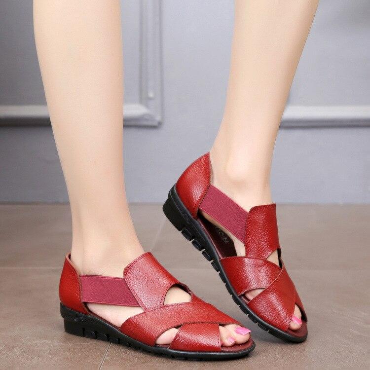 Image 4 - GKTINOO 2020 Summer Gladiator Rome Casual Sandals Women Shoes Sandalia Feminina Genuine Leather Wedge Heel Comfort SandalsLow Heels   -