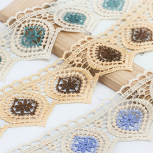 6.5CM Wide Color Water Soluble Tulle Lace Fabric Embroidery DIY Handmade Clothing Home Textile Material Skirt Curtain Edge Decor 7cm wide hollow delicate flower lace handmade diy embroidery clothing accessories skirt water soluble edge sewing curtain decor