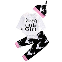 2016 Spring Autumn Newborn Infant Baby Girl Boy Clothes Letter Daddys Little Girl Print Romper Deer