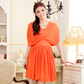 2017 plus size new design bat-wing sleeve dress summer V neck women casual dress free shipping orange/blue/yellow color