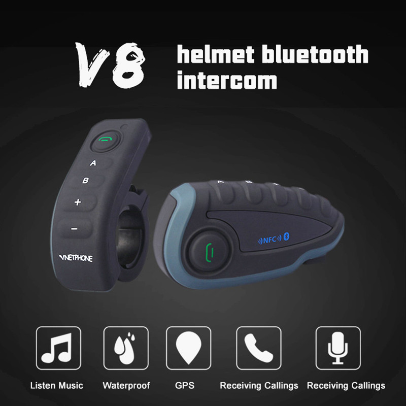 V8 2019 Interphone Bluetooth Interphone 1200 m moto rcycle casque Bluetooth casque Interphone Intercomunicador moto avec NFC FM