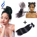 Alicrown Hair 360 Lace Frontal Closure With Bundles Ear To Ear Lace Frontal Weave Brazilian Straight Hair With Closure Baby Hair