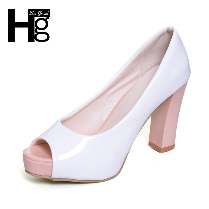ФОТО HEE GRAND Solid Woman Pumps Elegant Square High Heel Shoes 2017 Summer New Peep Toe For Women Size 35-39 XWZ3738