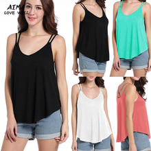 2017 Women New Sexy V Neck Camisole Summer Solid Color loose Type Tops High Quality Party Camis Women Short Tops Camisole