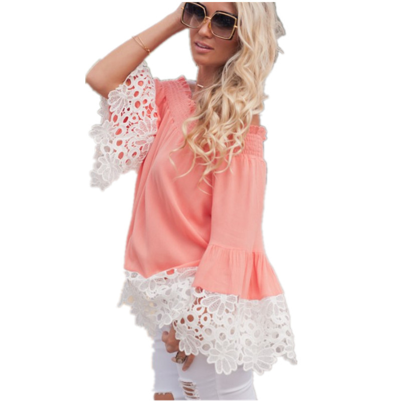 2018 Women Lace Chiffon Blouses Shirt Off Shoulder Women Blouses Shirts Summer Remeras M ...