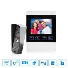 4 Inch HD Led Video Door Intercom System Door Bell 130MP Camera Automatic Video Storage Release Unlock Metal Doorbell