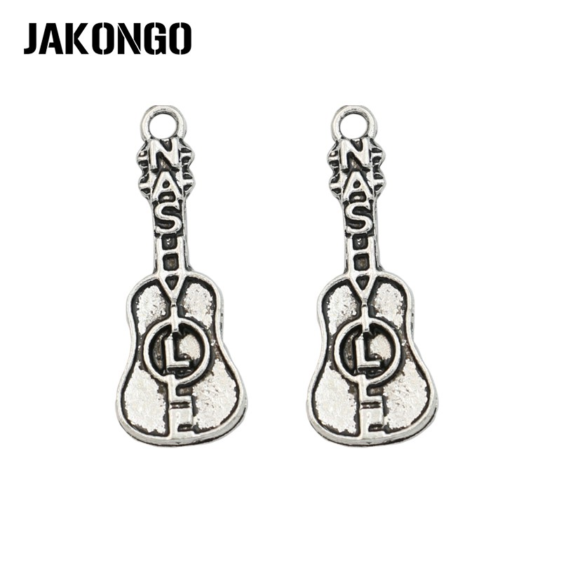JAKONGO Tibetan Silver Plated Nashville Guitar Charms Pendant for Jewelry Making Bracelet Accessories DIY 28x10mm 20PCSlot