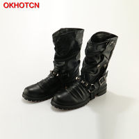 OKHOTCN New England Style Retro Boots Punk Motorcycle Martin Boots Luxury Brand Genuine Leather Military Rivet Boots Men Casual