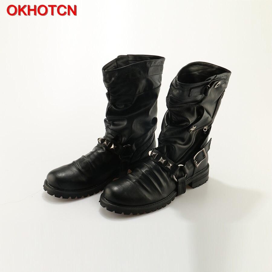 OKHOTCN estilo de Nueva Inglaterra Retro botas Punk motocicleta botas Martin de cuero genuino de la marca militar remache botas casuales de los hombres