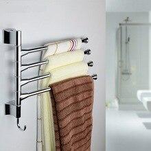 Распашной полотенцесушитель SUS304 из нержавеющей стали 4-Bar, вращающаяся вешалка для рук, органайзер для хранения ванной комнаты, настенное крепление, вешалка для полотенец