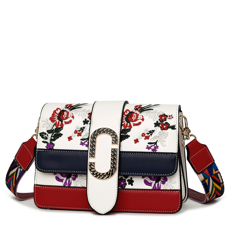 Luxury Brand Women Leather Messenger Bags with Colorful Straps Embroidery Flower Crossbody Bags Women Famous Design Shoulder Bag 2017 national embroidery bags women leather shoulder bag lady college crossbody bag colorful strap girls messenger bags school