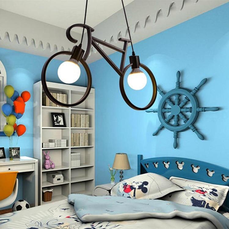 Nordic Creative Bicycle Iron Chandelier Black/ White Bike Droplight Restaurant Children Room Bedroom Lighting Fixture With Bulb