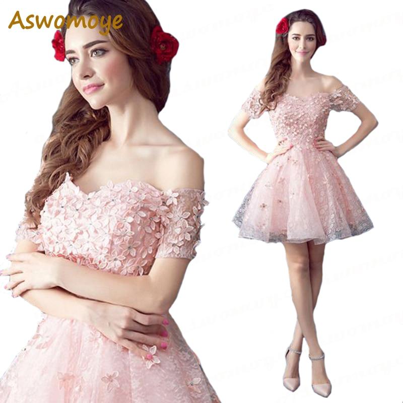 Aswomoye Short Evening Dress 2018 New Fashion Floral Pattern Skirt