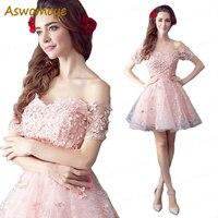 Aswomoye Short Evening Dress 2018 New Fashion Floral Pattern Skirt Party Formal Dresses Beaded Crystal Dress robe de soiree