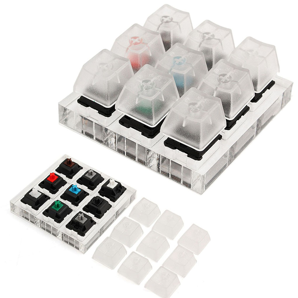 Mechanical Acrylic Keyboard Tester 9 Clear Plastic Keycap Sampler Replacement For Cherry MX Switches