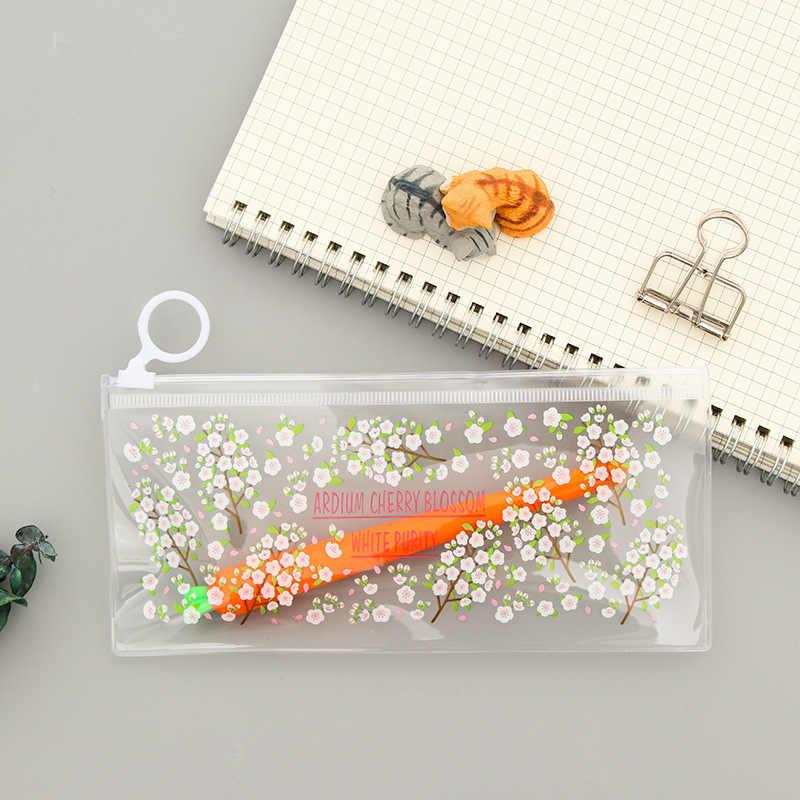 Милый цветок ПВХ водонепроницаемый пенал Kawaii Кролик прозрачный Карандаш сумка школьные пеналы для Детские канцелярские принадлежности