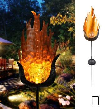LED Solar Flame Light Metal LED Garden Light Flame Effect Lamp Waterproof Outdoor Lights Landscape Lights Solar Decorative Light 12