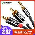 Ugreen Cable RCA 2RCA a 3,5 Cable de Audio RCA de 3,5mm Jack RCA Cable AUX para DJ amplificadores Subwoofer de Audio mezclador de cine en casa DVD