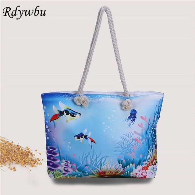 Rdywbu 3D с животным принтом сумка-подводный мир небольшой свежий Тропические рыбы пляжная сумка Сумки-холсты большой Веревка Пляжная Сумка h185