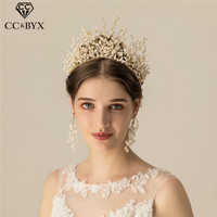 CC Wedding Jewelry Big Crown Tiara Hairbands Pageant Engagement Hair Accessories For Bride Crystal Beads Fine 100% Handmade O878