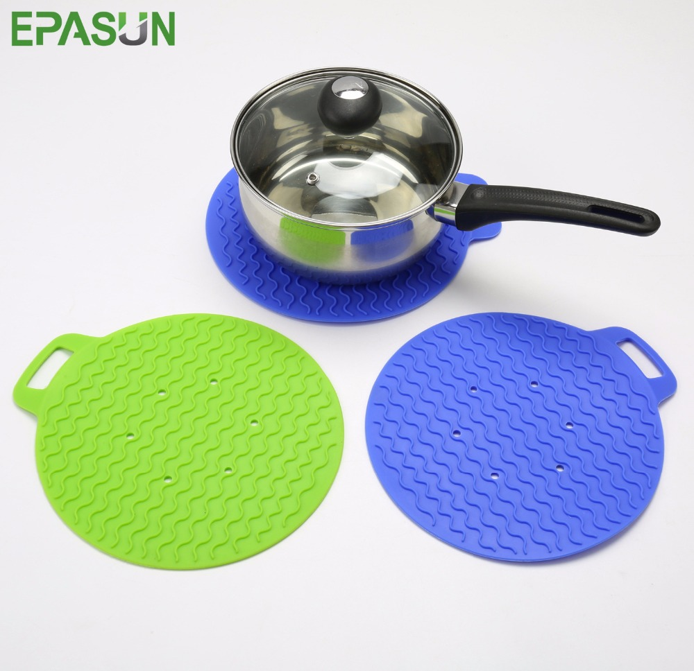 EPASUN Non-slip Silicone Table Placemat Cup Coaster Drying Mat Cushion Heat Resistant Dining Pot Holder Pad Kitchen Tools