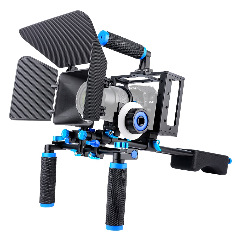 Camera Rig Video Stabilizer Kit Photo Studio Kit Matte Box+Dslr Cage+Shoulder Mount Rig+Follow Focus for DSLR Camera Camcorder yelangu professional handheld shoulder mount dslr video camera stabilizer support system kit matte box follow focus c shape tubo